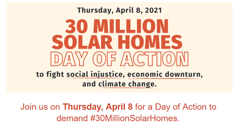 Celebrate Earth Month by Supporting the 30 Million Solar Homes Campaign